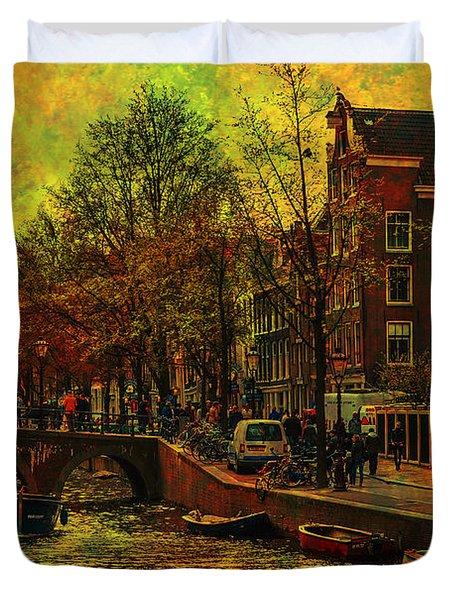 I Amsterdam. Vintage Amsterdam In Golden Light Duvet Cover