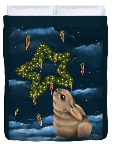 Duvet Cover featuring the painting I Can Smell The Christmas In The Air by Veronica Minozzi