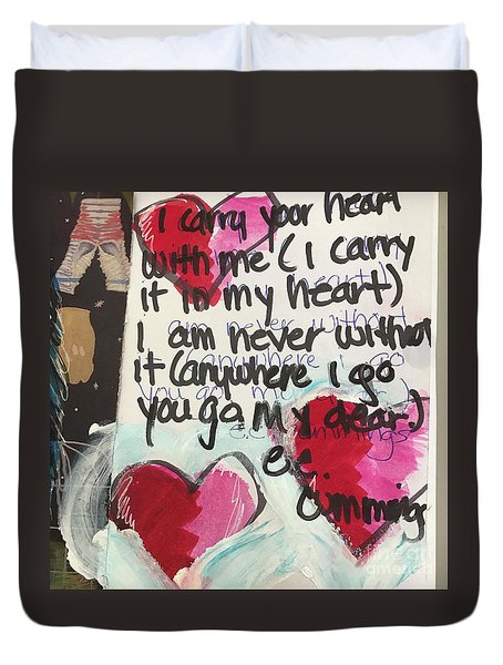 I Carry Your Heart In My Heart II Duvet Cover by Kim Nelson