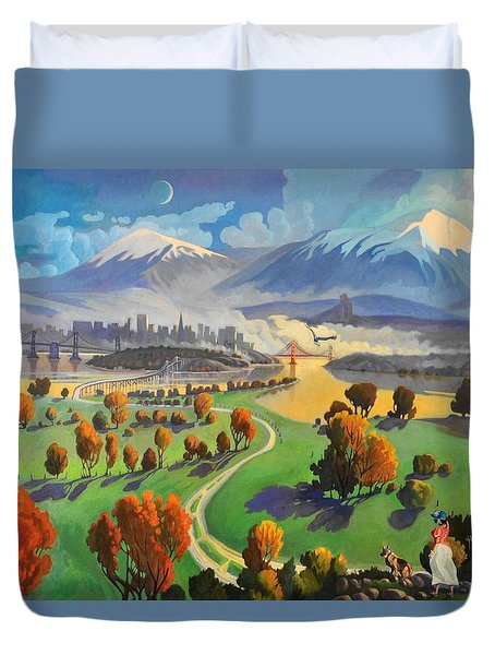 Duvet Cover featuring the painting I Dreamed America by Art James West