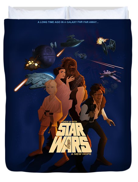 I Grew Up With Starwars Duvet Cover by Nelson Dedos  Garcia