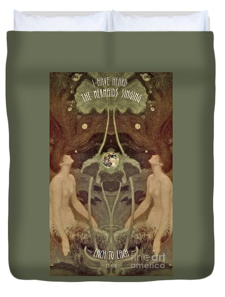 Duvet Cover featuring the painting I Have Heard The Mermaids Singing by Lora Serra