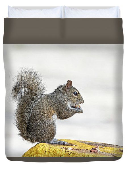 Duvet Cover featuring the photograph I Have My Nuts by Deborah Benoit