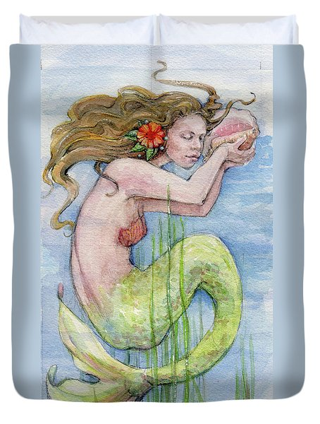 Duvet Cover featuring the painting Mermaid by Lora Serra
