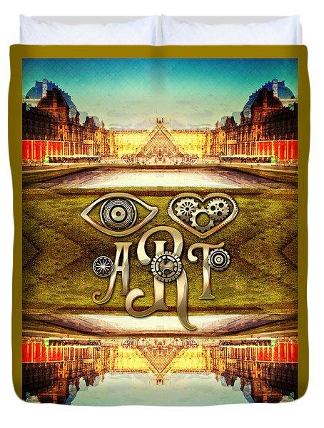 I Heart Art Louvre Museum Paris Da Vinci Gears Duvet Cover