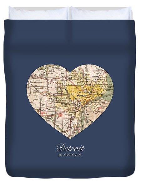 I Heart Detroit Michigan Vintage City Street Map Americana Series No 001 Duvet Cover