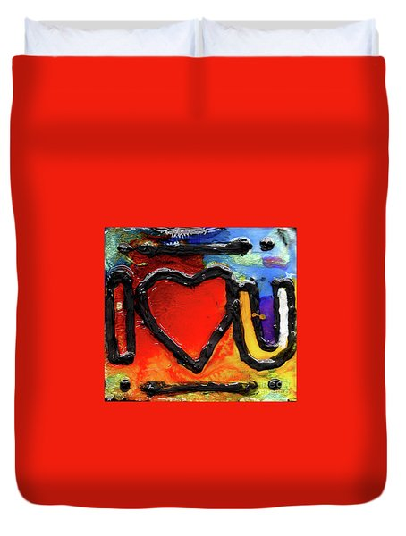 Duvet Cover featuring the painting I Heart You by Genevieve Esson