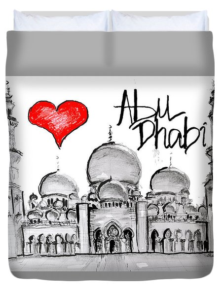 Duvet Cover featuring the drawing I Love Abu Dhabi by Sladjana Lazarevic
