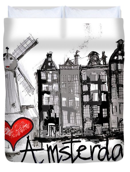 Duvet Cover featuring the sculpture I Love Amsterdam by Sladjana Lazarevic