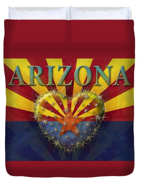 I Love Arizona Flag Duvet Cover