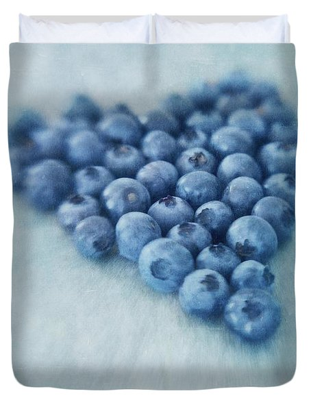 I Love Blueberries Duvet Cover by Priska Wettstein