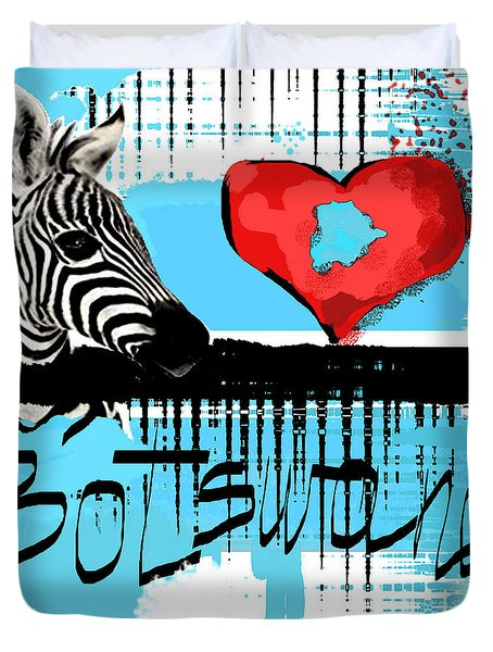 Duvet Cover featuring the digital art I Love Botswana  by Sladjana Lazarevic