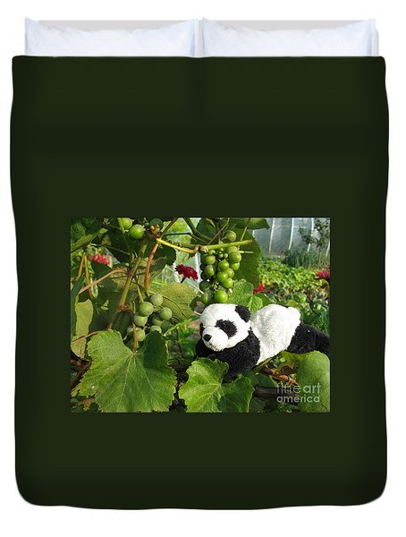Duvet Cover featuring the photograph I Love Grapes Says The Panda by Ausra Huntington nee Paulauskaite