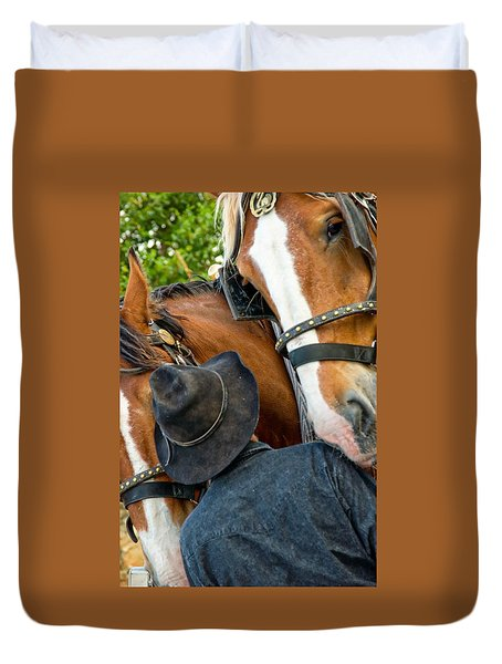 Duvet Cover featuring the photograph I Love Horses by Bob Pardue