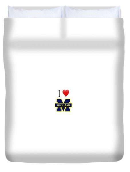 I Love Michigan Duvet Cover by Pat Cook
