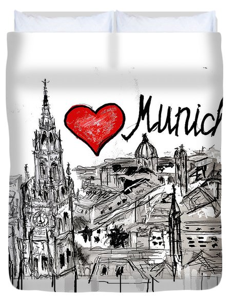Duvet Cover featuring the drawing I Love Munich by Sladjana Lazarevic