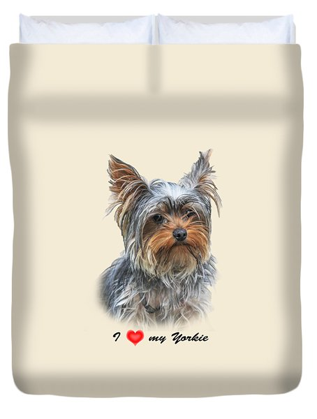 I Love My Yorkie 01 Duvet Cover by Jivko Nakev