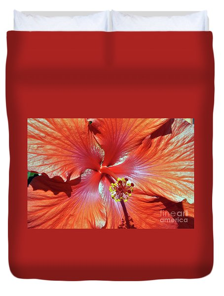 I Love Orange Flowers 2 Duvet Cover by Lydia Holly