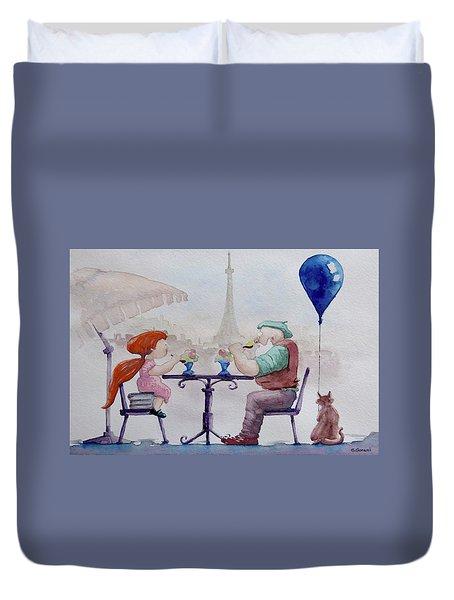 I Love Paris Grandpa Duvet Cover by Geni Gorani