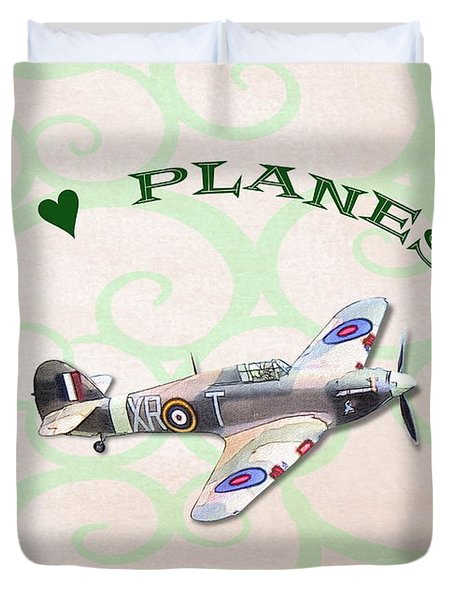 I Love Planes - Hurricane Duvet Cover