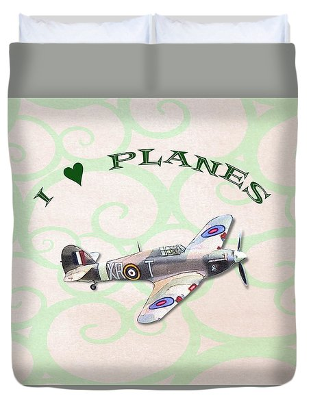 Duvet Cover featuring the digital art I Love Planes - Hurricane by Paul Gulliver