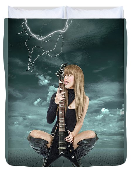 I Love Rock And Roll Duvet Cover