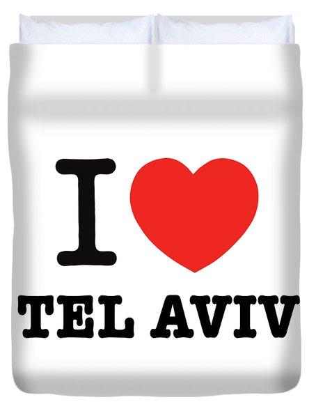 Duvet Cover featuring the photograph i love Tel Aviv by Ron Shoshani