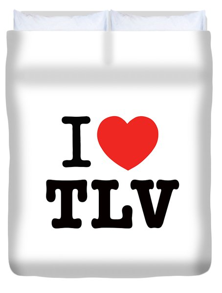 Duvet Cover featuring the photograph i love TLV by Ron Shoshani