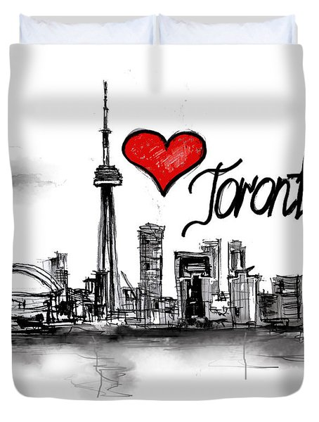 Duvet Cover featuring the drawing I Love Toronto by Sladjana Lazarevic