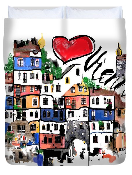 Duvet Cover featuring the drawing I Love Vienna  by Sladjana Lazarevic
