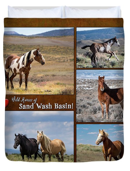 Duvet Cover featuring the photograph I Love Wild Horses Of Sand Wash Basin by Nadja Rider
