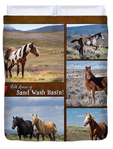 I Love Wild Horses Of Sand Wash Basin Duvet Cover