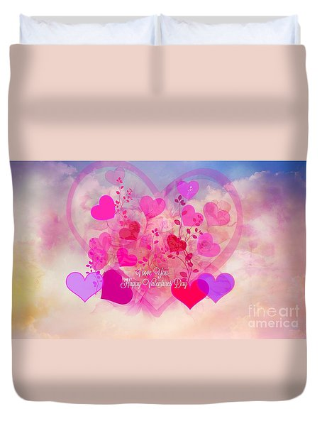 I Love You..happy Valentines Day Duvet Cover