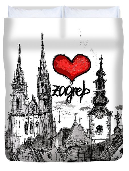 Duvet Cover featuring the drawing I Love Zagreb by Sladjana Lazarevic