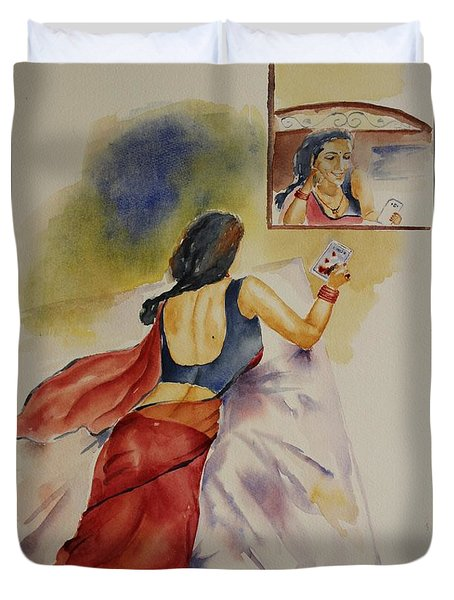 Duvet Cover featuring the painting I Miss You by Geeta Biswas