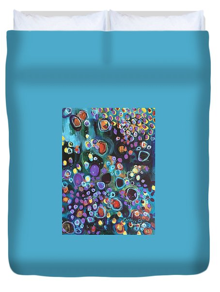 Duvet Cover featuring the painting I Need An Answer Please by Laurie Maves ART