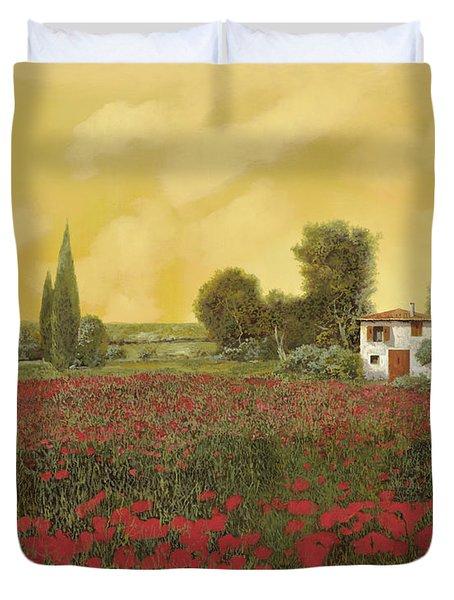 I Papaveri E La Calda Estate Duvet Cover by Guido Borelli