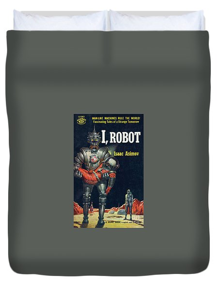 Duvet Cover featuring the painting I, Robot by Robert Schulz