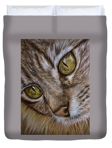 Duvet Cover featuring the drawing I See by Heidi Kriel