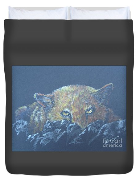 Duvet Cover featuring the drawing I See You by Laurianna Taylor