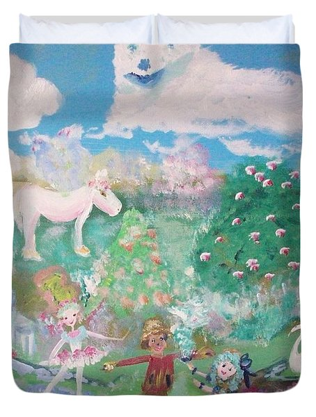 Duvet Cover featuring the painting I Want To Be There by Judith Desrosiers