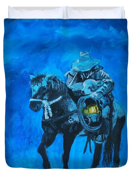 Duvet Cover featuring the painting I Will Carry You by Leslie Allen