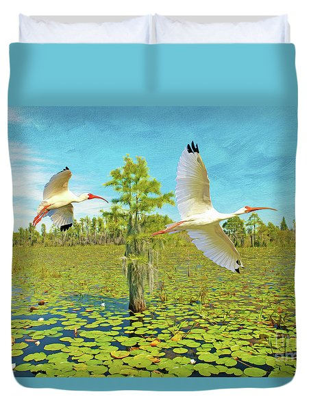 Ibis At Okefenokee Duvet Cover