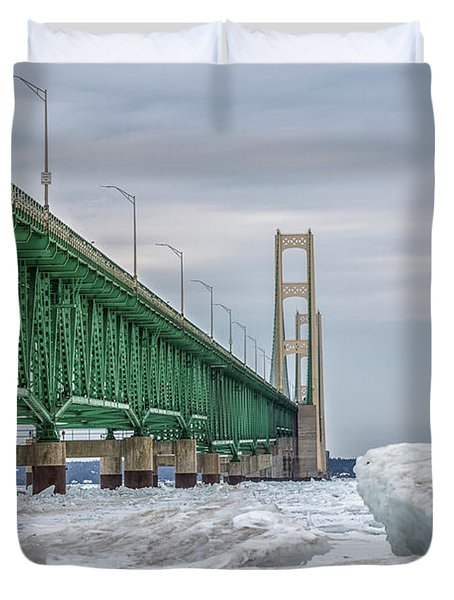 Duvet Cover featuring the photograph Ice And Mackinac Bridge  by John McGraw