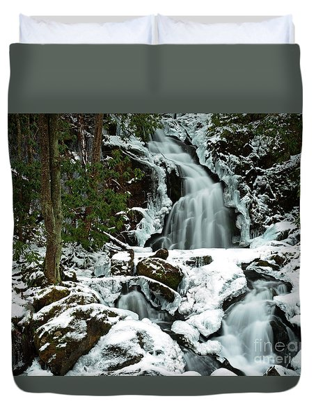 Ice And Snow, Mouse Creek Falls, Great Smoky Mountain National Park Duvet Cover