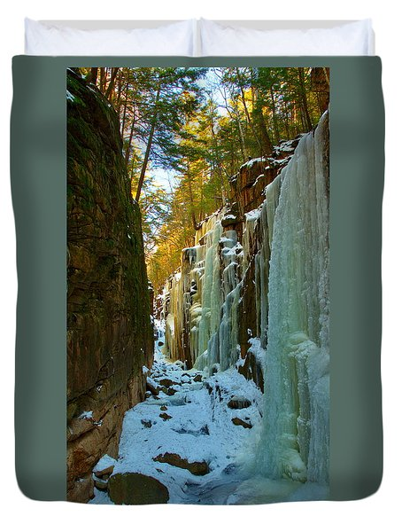 Ice At The Flume Duvet Cover