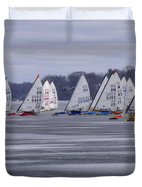 Ice Boat Racing - Madison - Wisconsin Duvet Cover