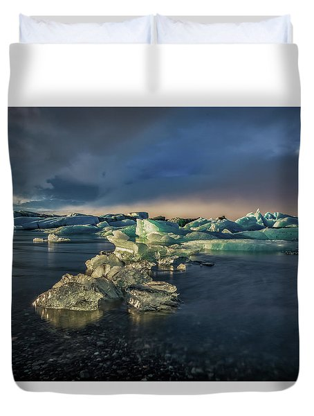 Duvet Cover featuring the photograph Ice Chunks by Allen Biedrzycki
