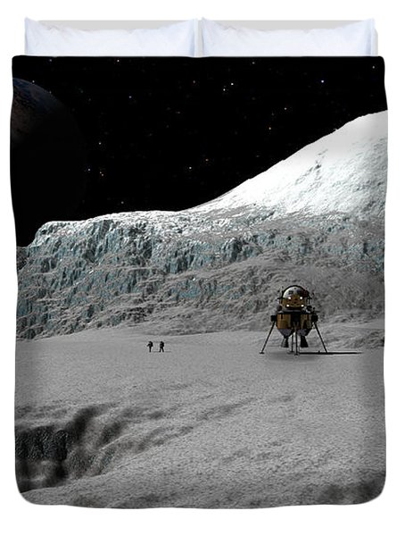 Ice Cliffs Of Europa Duvet Cover