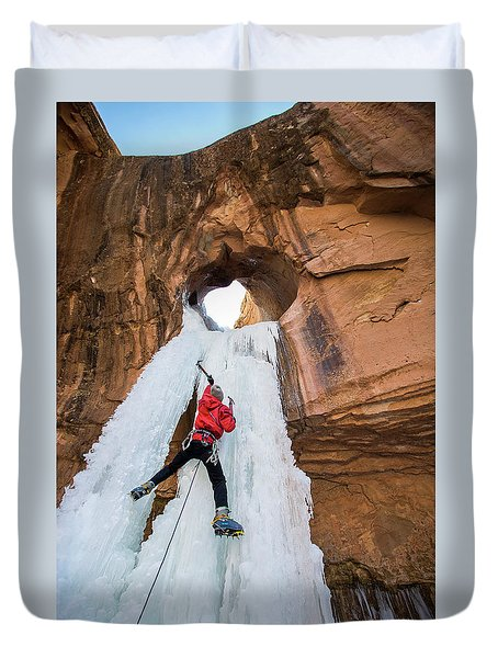 Ice Climber Duvet Cover